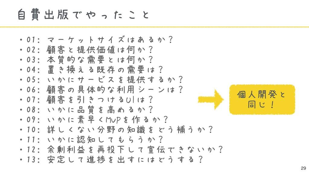 ・01: マーケットサイズはあるか? ・02: 顧客と提供価値は何か? ・03: 本質的な需...