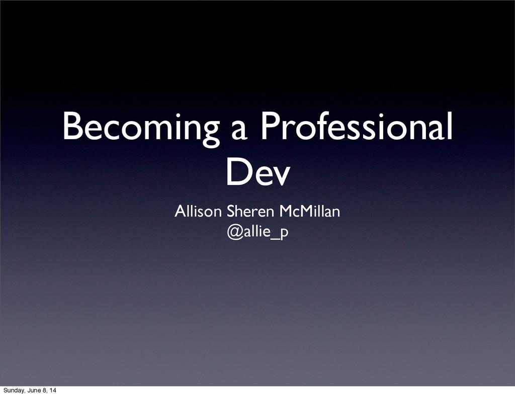Becoming a Professional Dev Allison Sheren McMi...