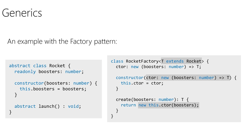 Generics An example with the Factory pattern: a...