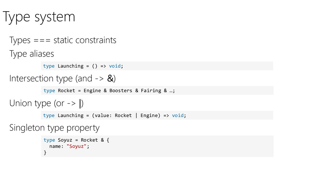 Type system Types === static constraints type L...