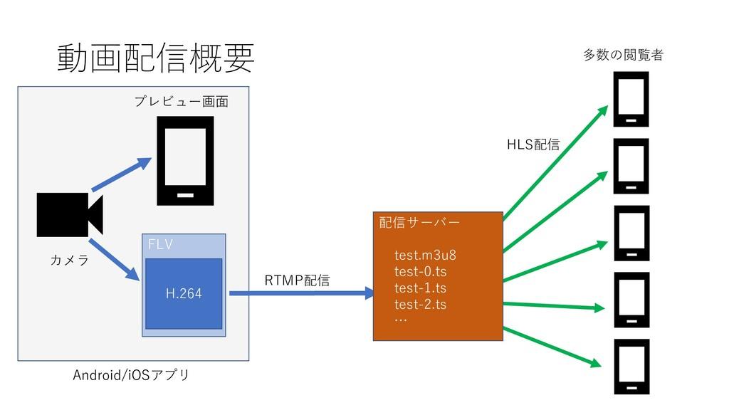 動画配信概要 カメラ プレビュー画面 FLV H.264 RTMP配信 多数の閲覧者 配信サー...