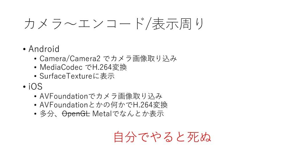 カメラ~エンコード/表示周り • Android • Camera/Camera2 でカメラ画...
