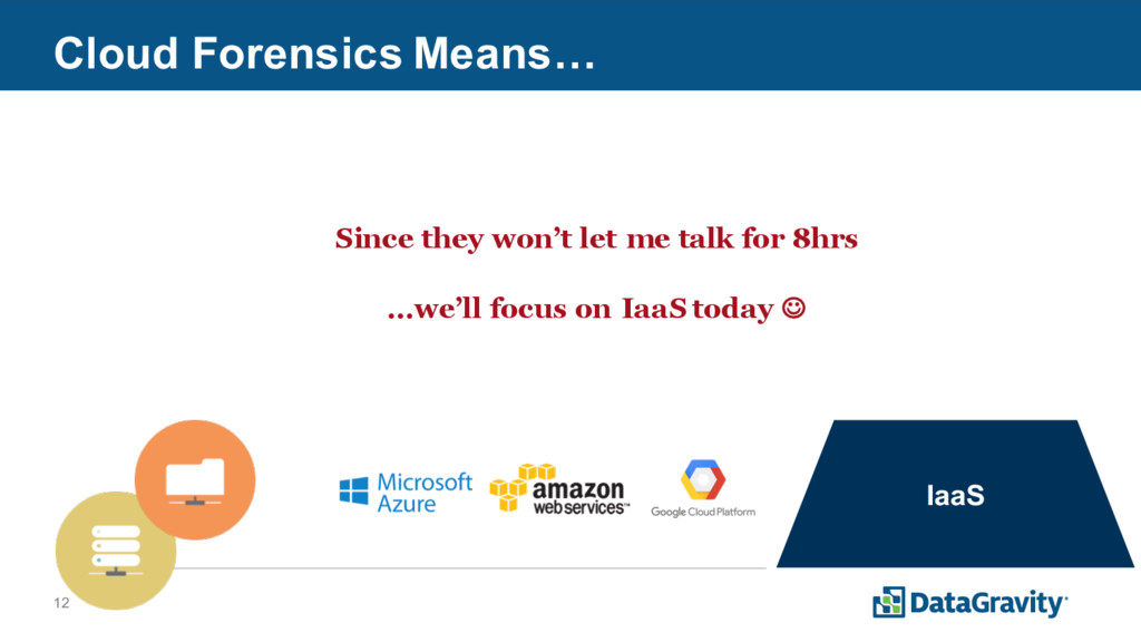 12 Cloud Forensics Means… IaaS SaaS Since they ...