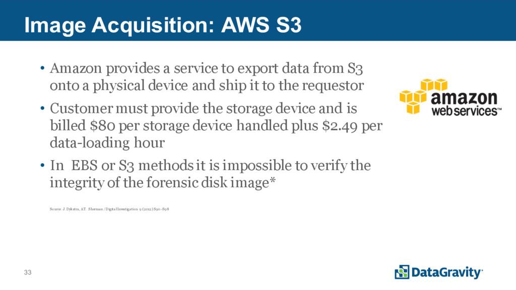 33 Image Acquisition: AWS S3 • Amazon provides ...