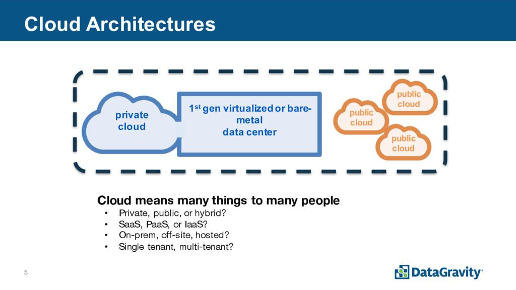 5 Cloud Architectures private cloud 1st gen vir...