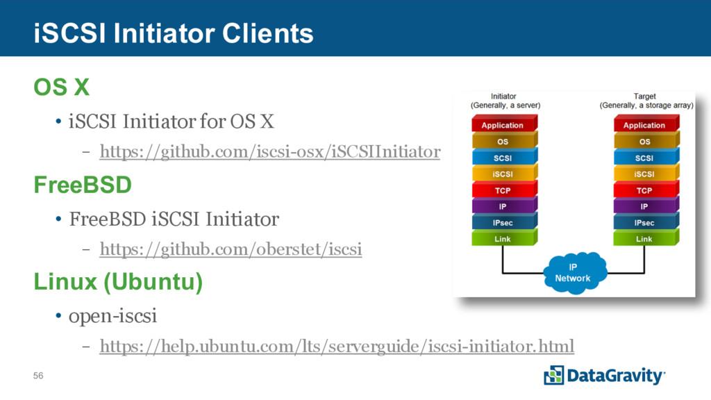 56 iSCSI Initiator Clients OS X • iSCSI Initiat...