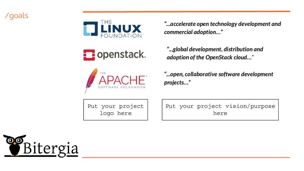 """/goals """"...accelerate open technology developme..."""
