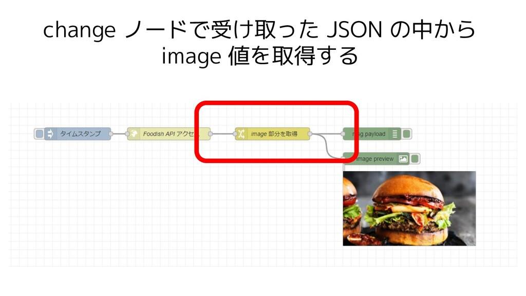 change ノードで受け取った JSON の中から image 値を取得する