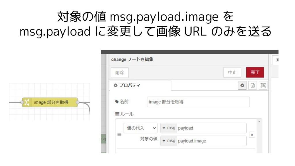 対象の値 msg.payload.image を msg.payload に変更して画像 UR...