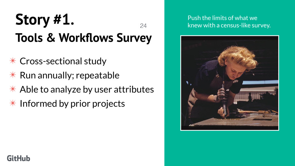 Story #1. Tools & Workflows Survey ✴ Cross-secti...