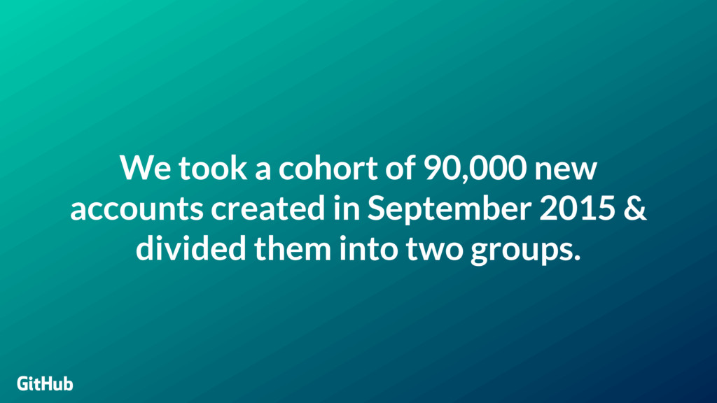 We took a cohort of 90,000 new accounts created...