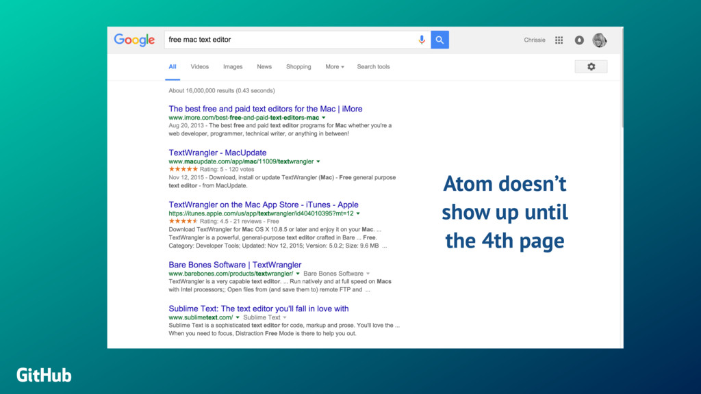 GitHub Atom doesn't show up until the 4th page