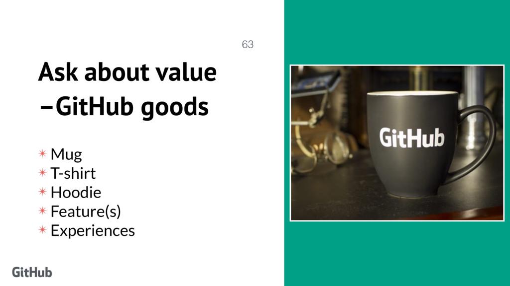 Ask about value –GitHub goods ✴ Mug ✴ T-shirt ✴...