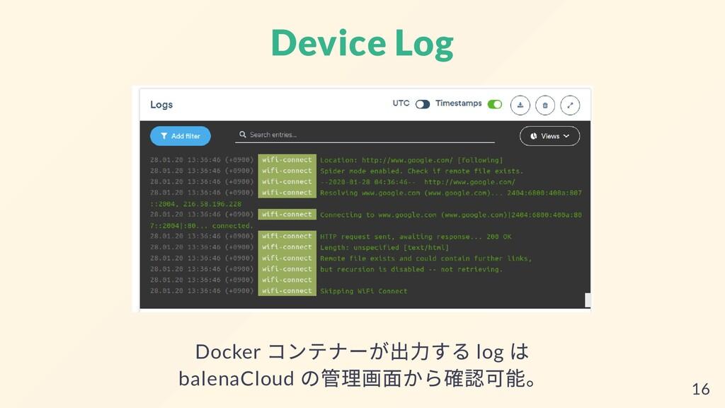 Device Log Docker コンテナーが出⼒する log は balenaCloud ...