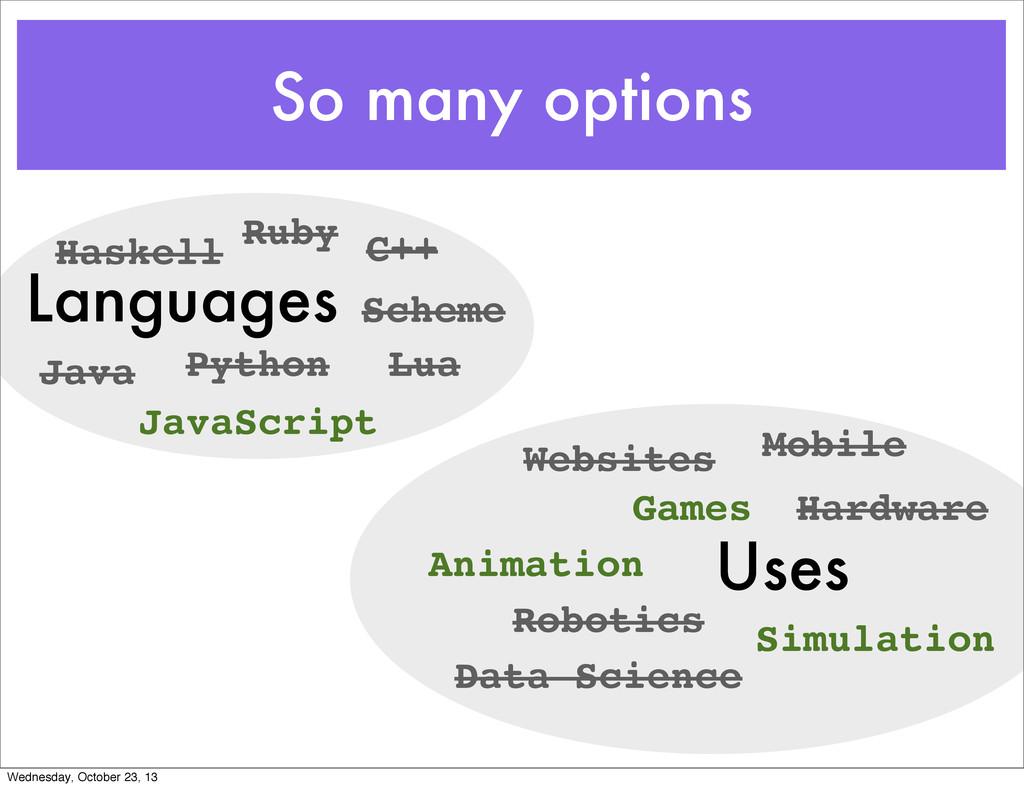 So many options Languages Uses Java Python C++ ...