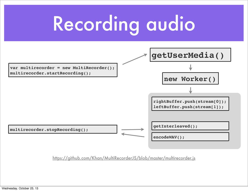 Recording audio var multirecorder = new MultiRe...
