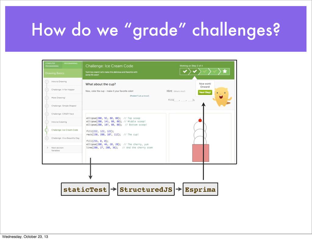 "How do we ""grade"" challenges? staticTest Struct..."