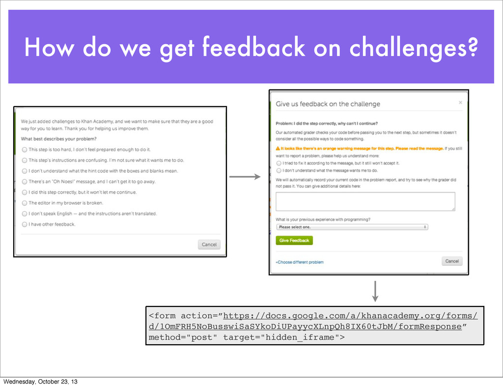 How do we get feedback on challenges? <form act...
