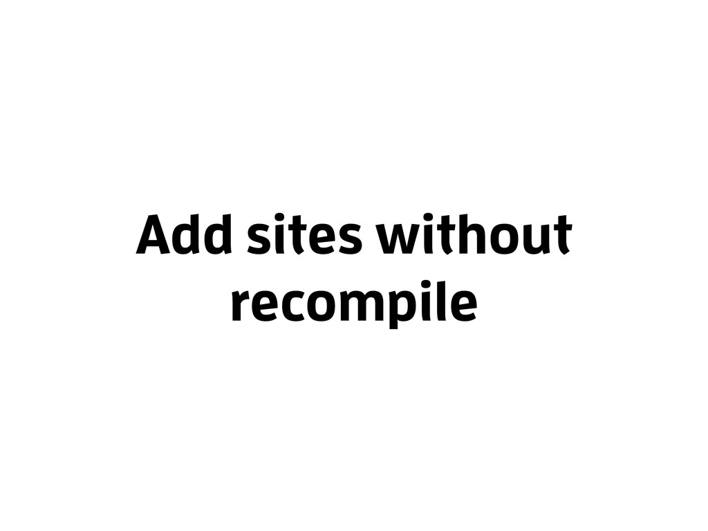 Add sites without recompile