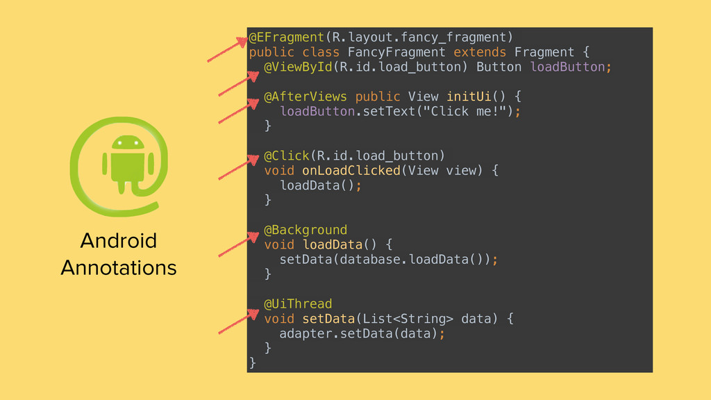 Android Annotations @EFragment(R.layout.fancy_f...