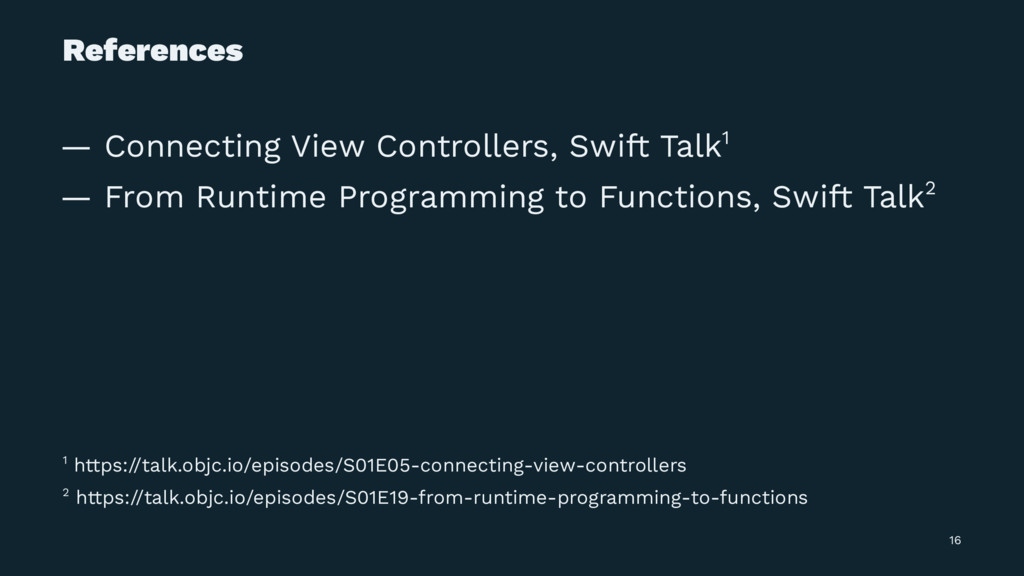 References — Connecting View Controllers, Swift...