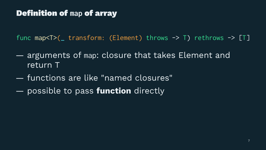 Definition of map of array func map<T>(_ transfo...