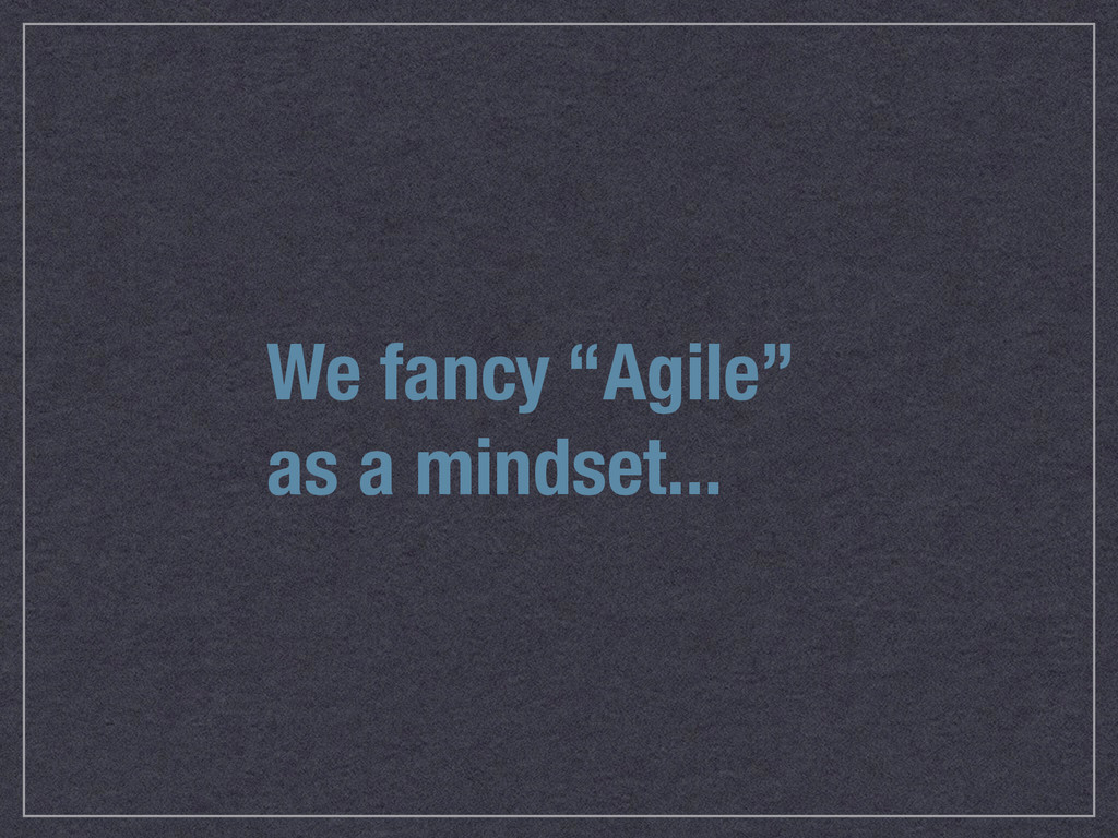 "We fancy ""Agile"" as a mindset..."