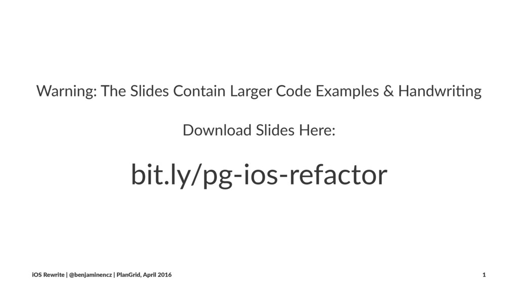 Warning: The Slides Contain Larger Code Example...