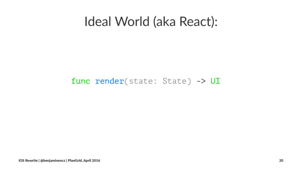 Ideal World (aka React): func render(state: Sta...