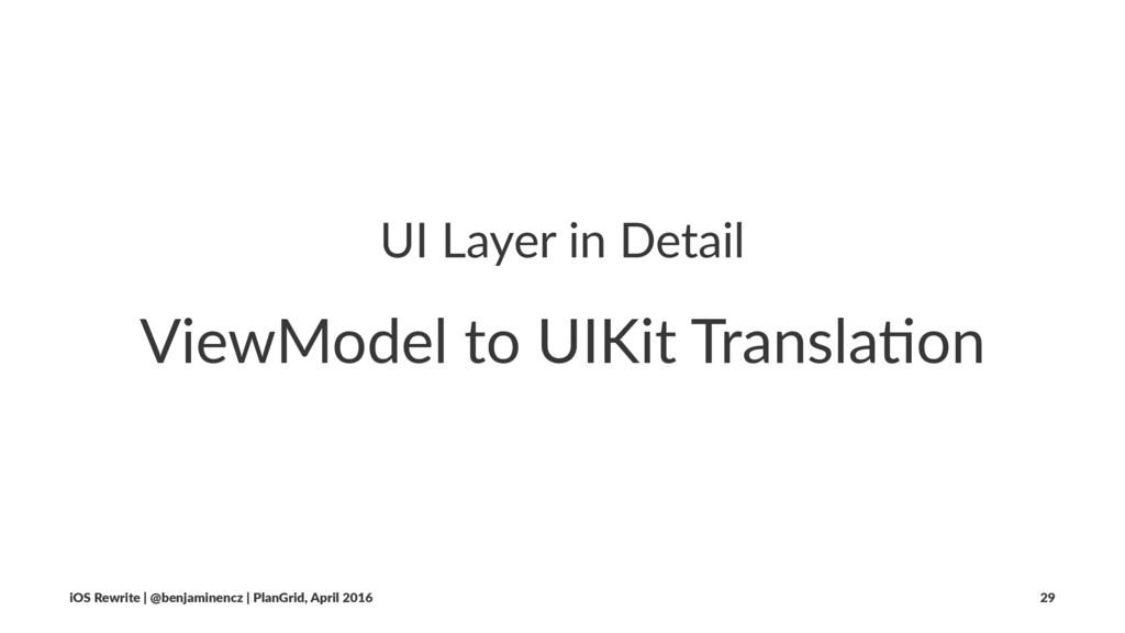 UI Layer in Detail ViewModel to UIKit Transla3o...
