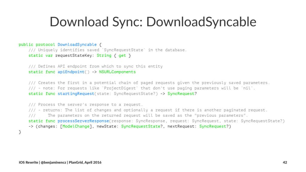 Download Sync: DownloadSyncable public protocol...