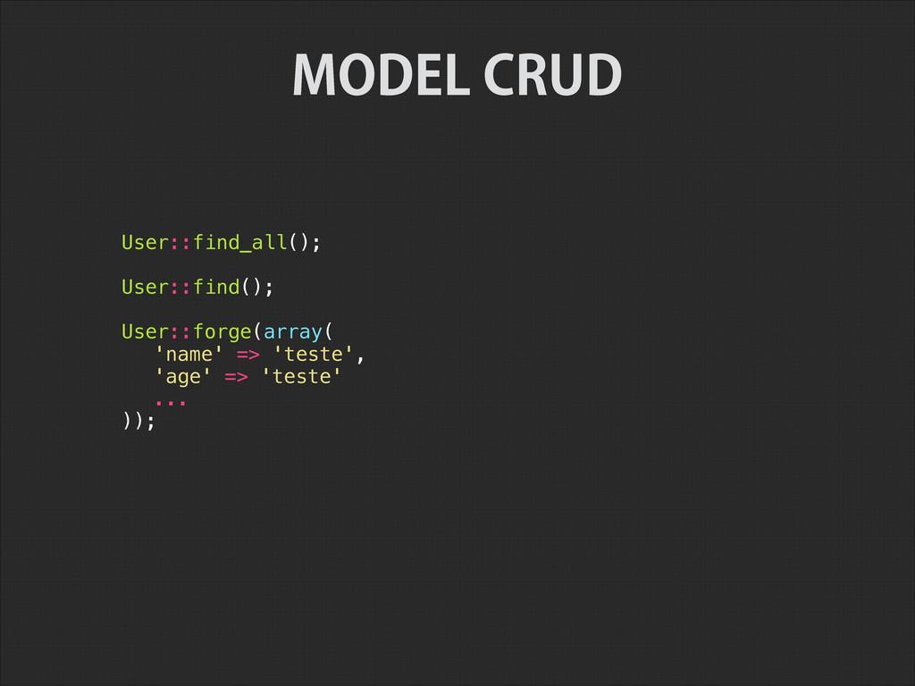 User::find_all(); ! User::find(); ! User::forge...