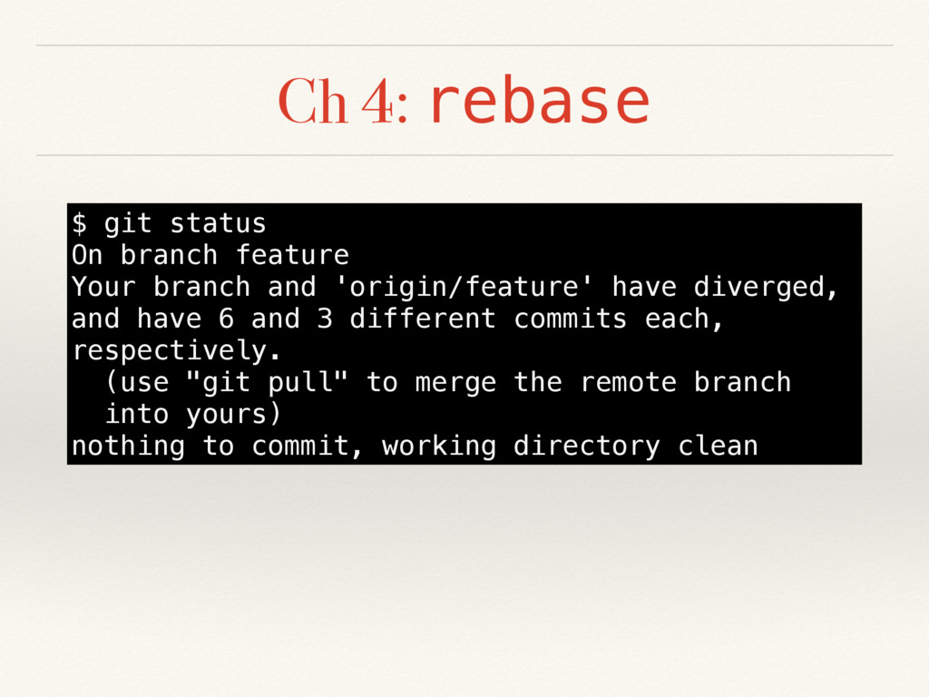 Ch 4: rebase $ git status On branch feature You...