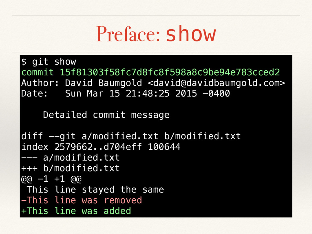 Preface: show $ git show commit 15f81303f58fc7d...