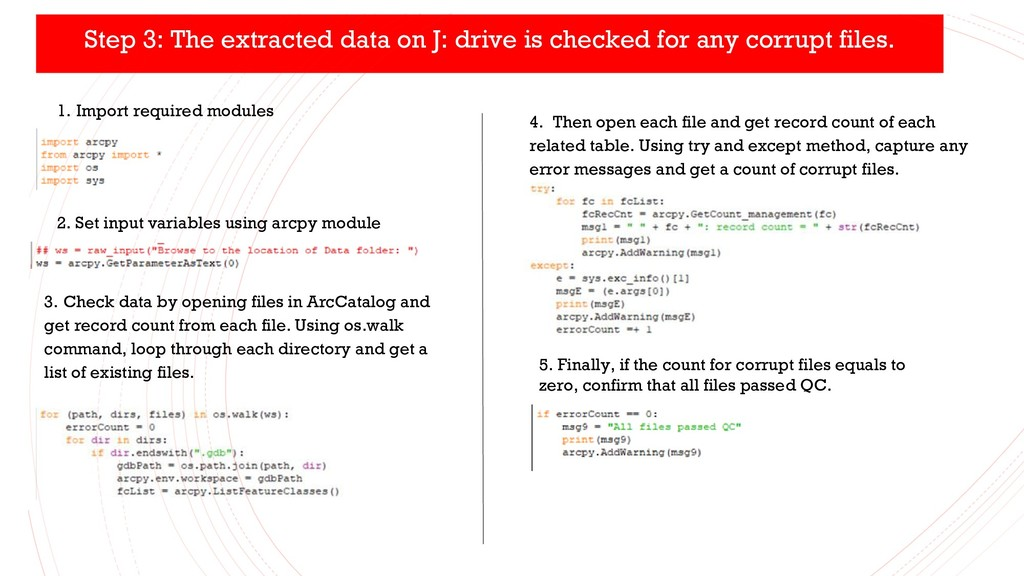 Step 3: The extracted data on J: drive is check...