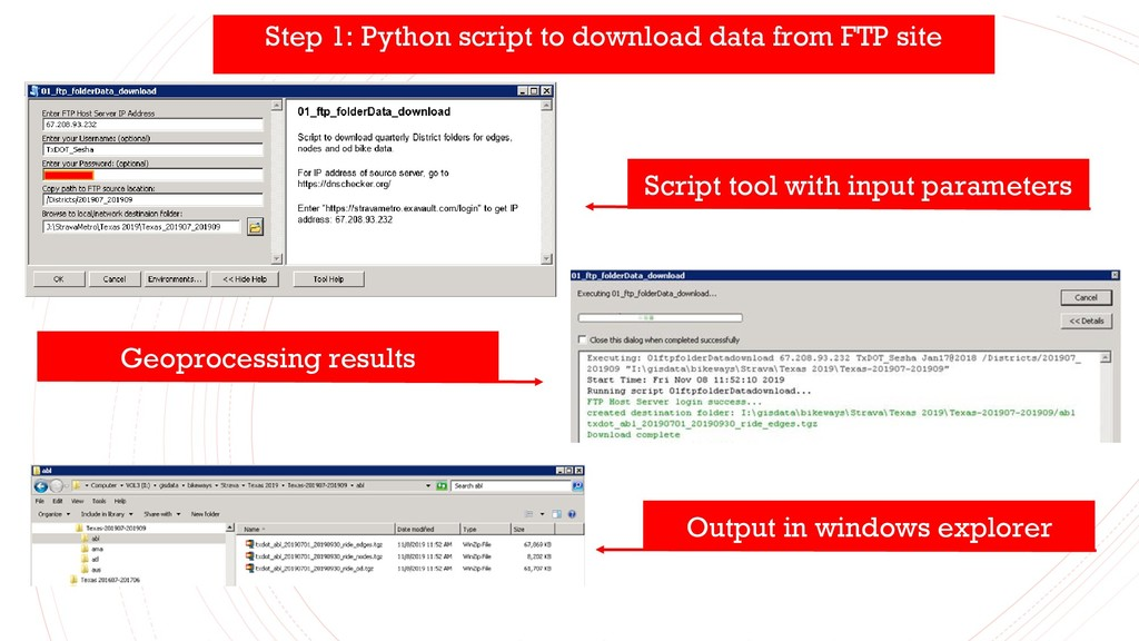 Script tool with input parameters Output in win...