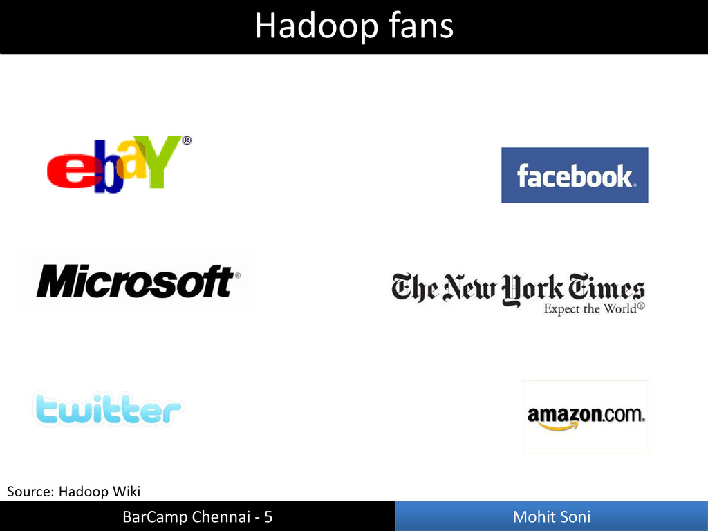 Source: Hadoop Wiki Hadoop fans BarCamp Chennai...