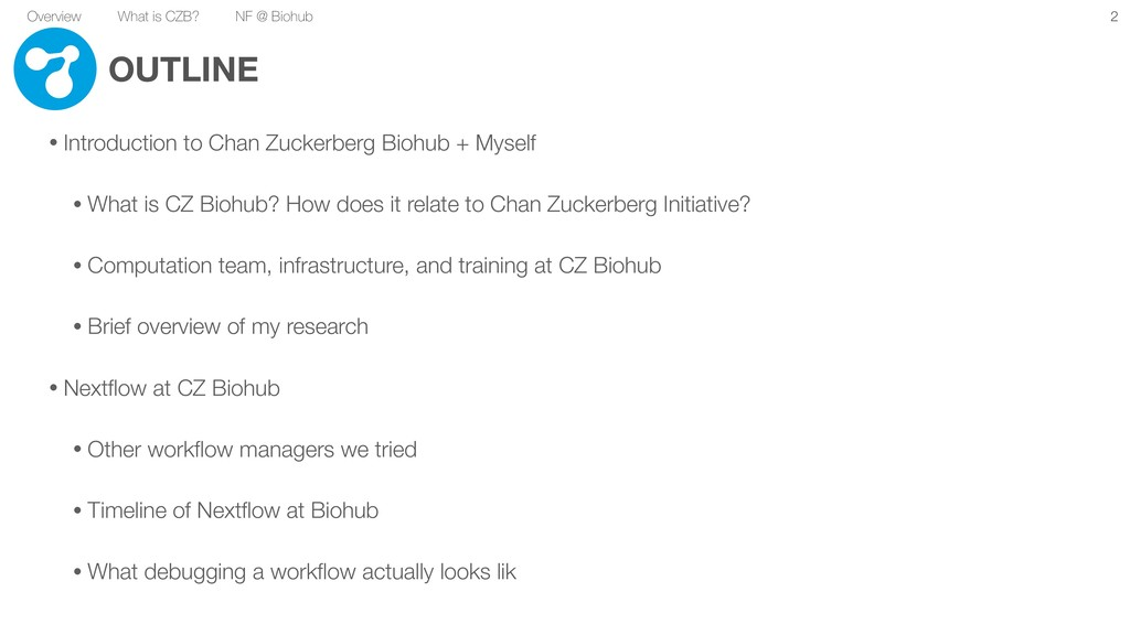 Overview What is CZB? NF @ Biohub OUTLINE • Int...