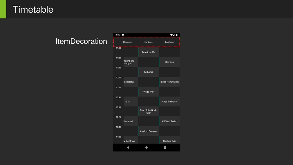 Timetable ItemDecoration
