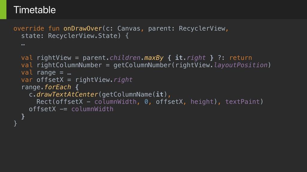 override fun onDrawOver(c: Canvas, parent: Recy...