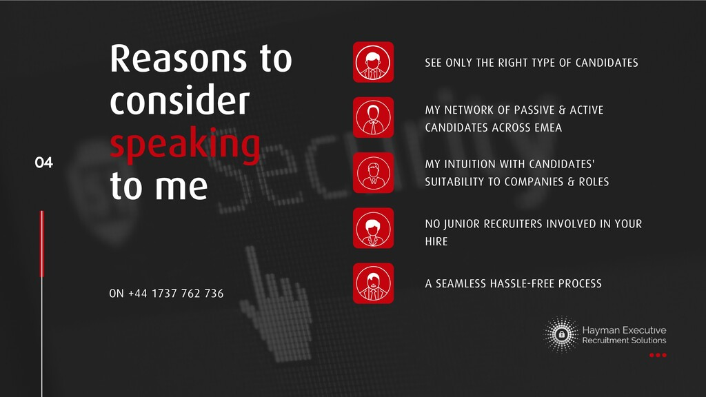 Reasons to consider speaking to me 04 A SEAMLES...