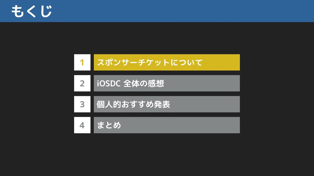 もくじ 1 2 3 スポンサーチケットについて 4 iOSDC 全体の感想 個人的おすすめ発表...