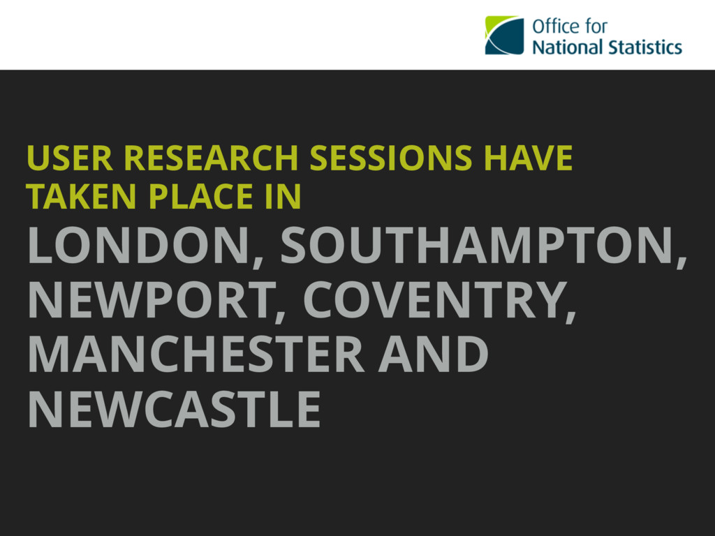 USER RESEARCH SESSIONS HAVE TAKEN PLACE IN LOND...