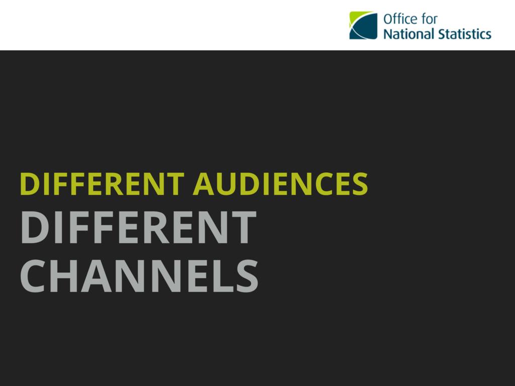 DIFFERENT AUDIENCES DIFFERENT CHANNELS