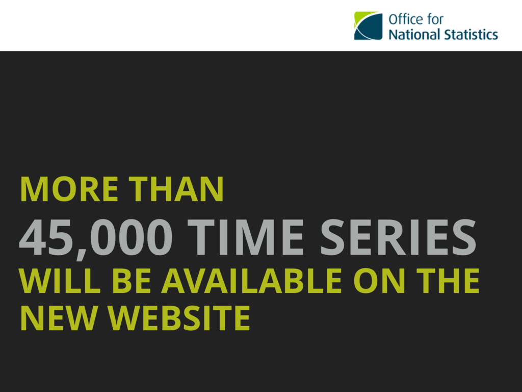 MORE THAN 45,000 TIME SERIES WILL BE AVAILABLE ...
