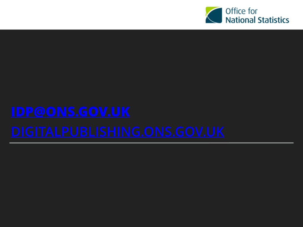 IDP@ONS.GOV.UK DIGITALPUBLISHING.ONS.GOV.UK