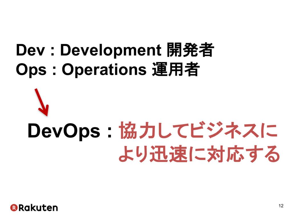 12 Dev : Development 開発者 Ops : Operations ...