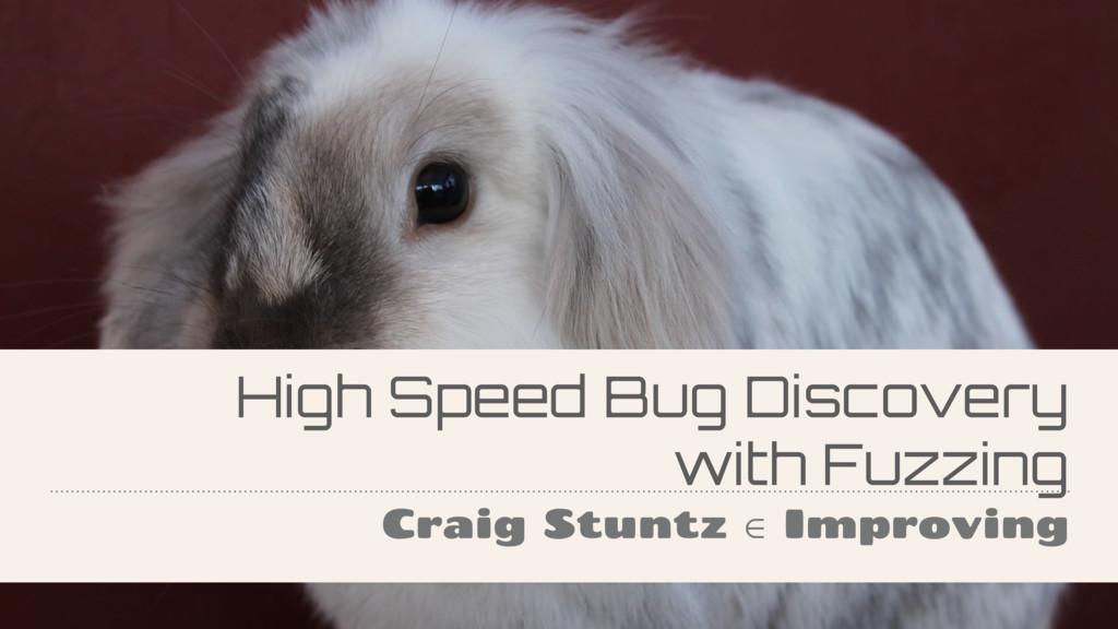 High Speed Bug Discovery with Fuzzing Craig Stu...