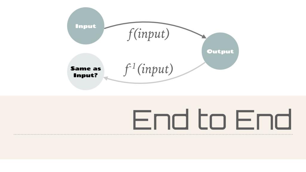End to End Input Output Same as Input? f(input)...
