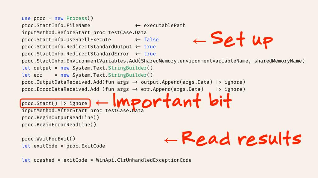 use proc = new Process() proc.StartInfo.FileNam...